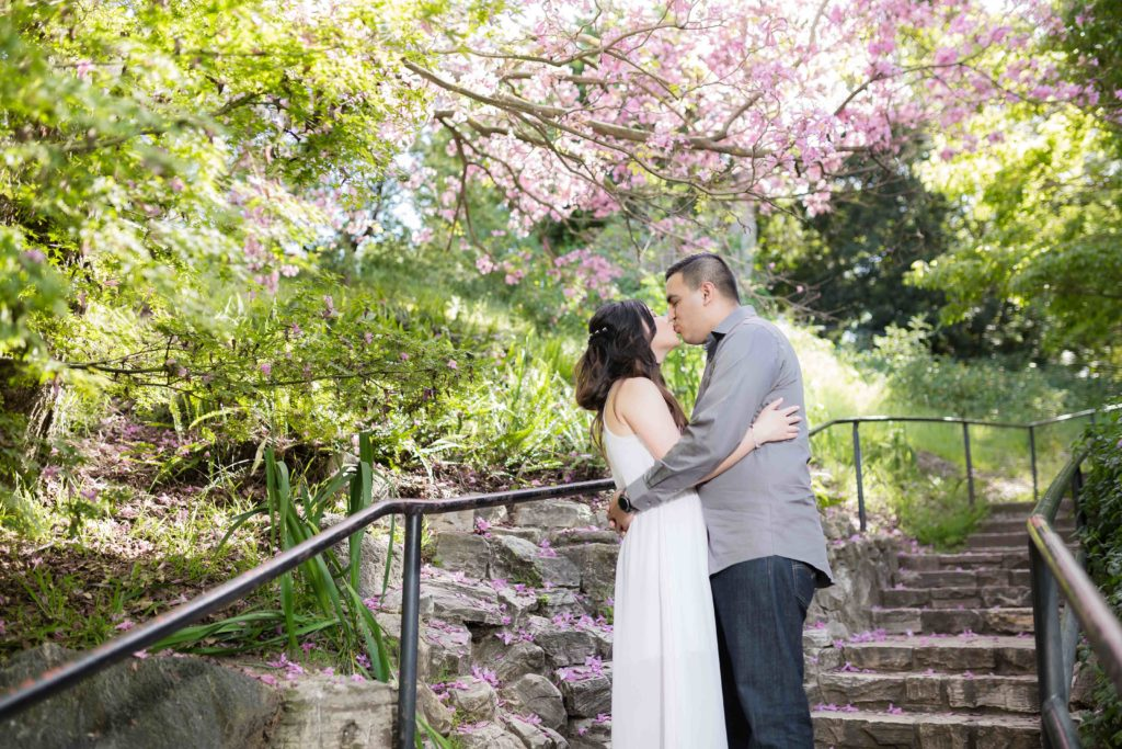 kissing under the blooming trees